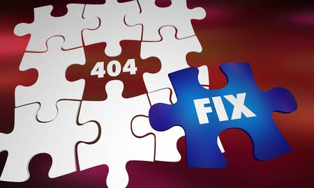 404 Error Page Not Found Missing Website Puzzle Piece Fix 3d Illustration