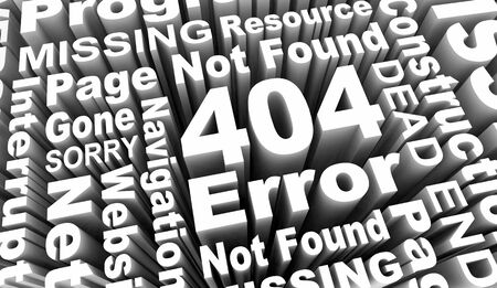 404 Error Page Not Found Missing Website Code Message Word Collage 3d Illustration