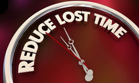 Reduce Lost Time Cut Waste Clock Efficiency Productivity 3d Illustration