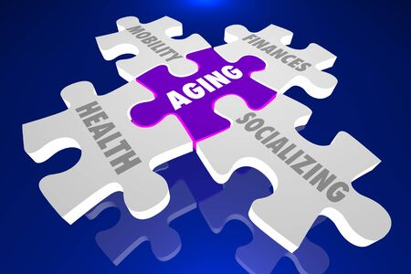 Aging Issues Health Mobility Finances Socializing Puzzle Pieces 3d Illustration