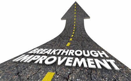 Przełomowe doskonalenie Ciągłe doskonalenie procesu Słowa drogowe Ilustracja 3d