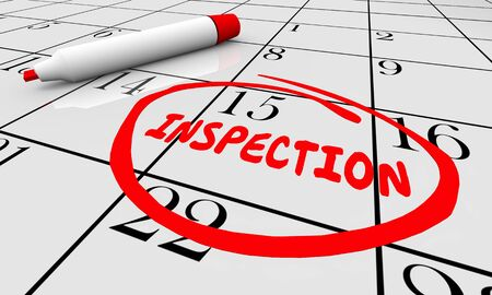 Inspection Calendar Date Reminder Assessment Evaluation 3d Illustration
