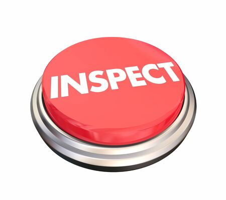 Inspecter le bouton Analyser Évaluer Évaluer Test Illustration 3d Banque d'images