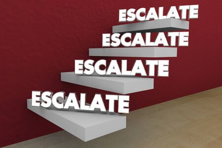Escalate Higher Level Rise Important Issue Raise Steps 3d Illustration Stock Photo