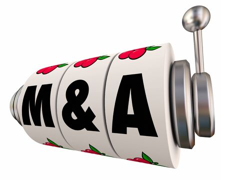 M&A Mergers and Acquisitions Slot Wheels Risk Uncertainty 3d Illustration Banco de Imagens