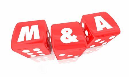 M&A Fusioni e acquisizioni Roll Dice Take Chance 3d Illustration