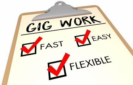 Gig Work Checklist Fast Easy Flexible 3d Illustration Stock Photo