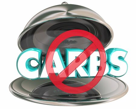 No Carbs Diet Silver Platter Reduce Carbohydrates Lose Weight 3d Illustration