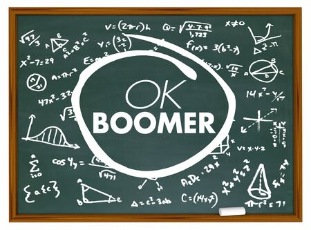 OK Boomer Dismissive Disrespectful Generational Education School Chalkboard 3d Illustration