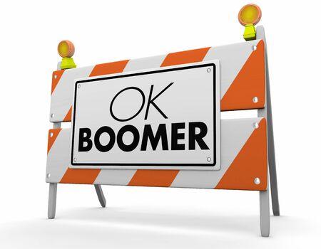 OK Boomer afwijzend respectloos Generational constructie teken waarschuwing gevaar 3d illustratie Stockfoto