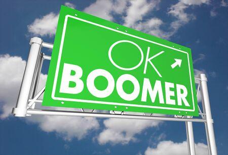 OK Boomer Dismissive Disrespectful Generational Freeway Sign 3d Illustration Stock Photo