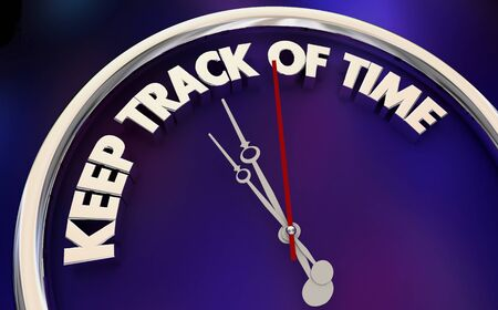 Keep Track of Time Tracker Clock Watch Hours Minutes 3d Illustration Stockfoto