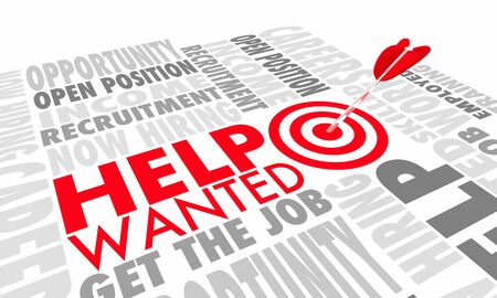 Help Wanted Now Hiring Apply Here New Job Career Arrow Target 3d Animation