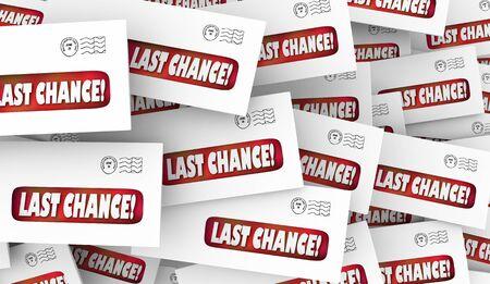 Last Chance Final Offer Envelope Mailings 3d Illustration 版權商用圖片