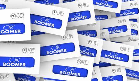 OK Boomer Dismissive Disrespectful Generational Letters Envelopes Responses 3d Illustration