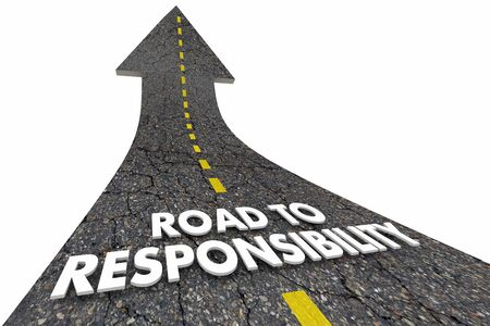 Road to Responsibility Duty Obligation Words 3d Illustration
