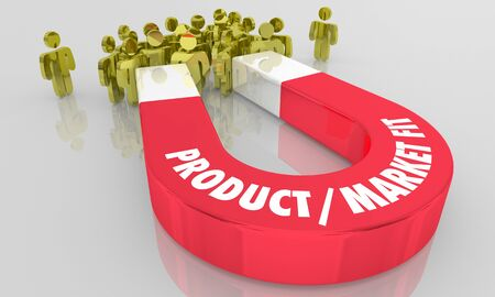 PMF Product Market Fit Magnet Attract Buyers Customers 3d Illustration