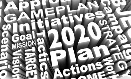 2020 Plan Strategy Goal Mission Words Collage 3d Illustration