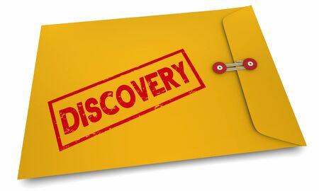 Discovery Learn Entdecken Sie neue Informationen Umschlag 3D-Illustration Standard-Bild