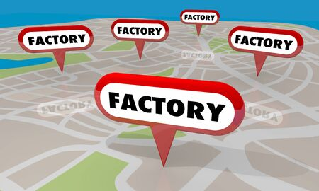 Factory Manufacturing Plants Map Pins Factories Locations 3d Illustration