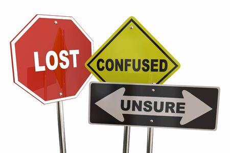 Perdido, confundido, inseguro, incertidumbre, señales de tráfico, ilustración 3d