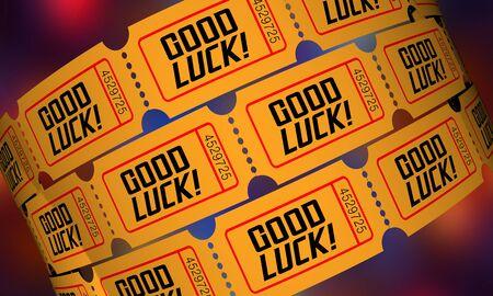 Good Luck Winner Tickets Lottery Raffle Drawing 3d Illustration