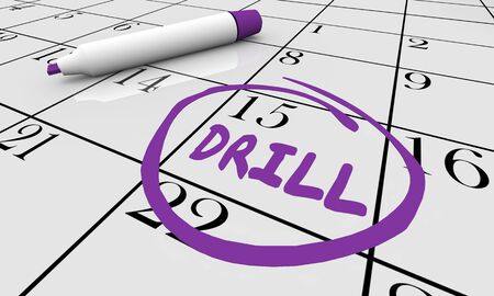 Drill Übung Übungstag Datum eingekreist Kalender 3D-Darstellung Standard-Bild