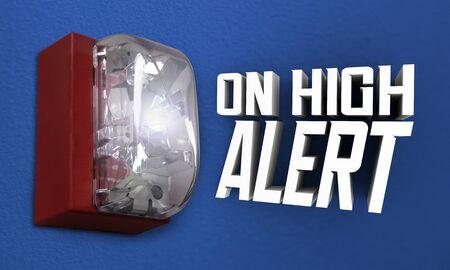On High Alert Fire Alarm Emergency Crisis 3d Illustration 免版税图像