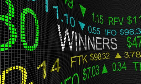 Stock Market Winners Top Performing Companies Shares Best Buys 3d Illustration