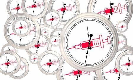 Jeringa Aguja Medicina Disparo Inyección Medicamento Vacunas Relojes Volando Ilustración 3d