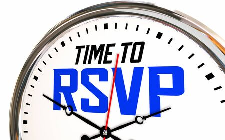 Time to RSVP Reply Reservation Attend Event Clock 3d Illustration Stock Photo