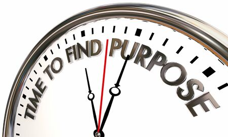 Time to Find Purpose Meaning Direction Clock 3d Illustration Stock Photo