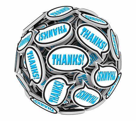 Thanks Appreciation Gratitude Speech Bubbles Thank You Sphere 3d Illustration Stock Photo