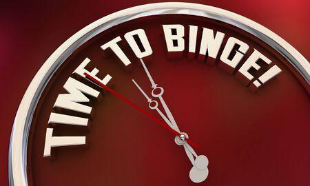 Time to Binge Watch TV Programs Eat Food Clock 3d Illustration Reklamní fotografie