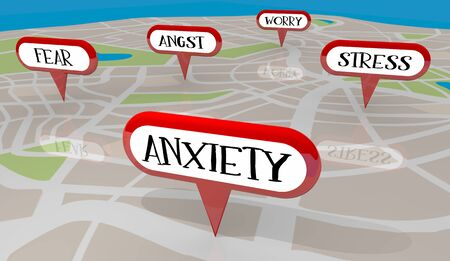 Stress Anxiety Fear Worry Angst Map Pins 3d Illustration