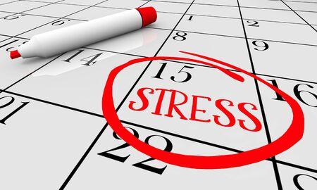 Stress, anxiété, inquiétude, peur, calendrier, jour, date, cerclé, 3d, illustration