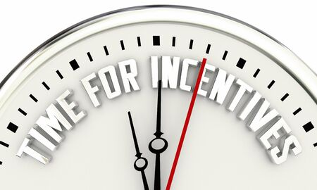 Time for Incentives Bonuses Payments Clock Words 3d Illustration 스톡 콘텐츠 - 138243458