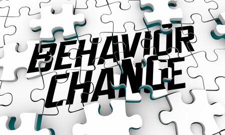 Behavior Change Influence New Outcome Puzzle 3d Illustration Foto de archivo
