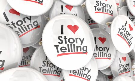 I Love Storytelling Sharing Facts Narrative Information Communication Buttons Pins 3d Illustration