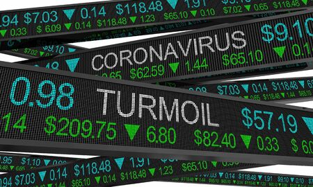 Coronavirus Stock Market Crash Turmoil COVID-19 Outbreak Pandemic 3d Illustration 版權商用圖片