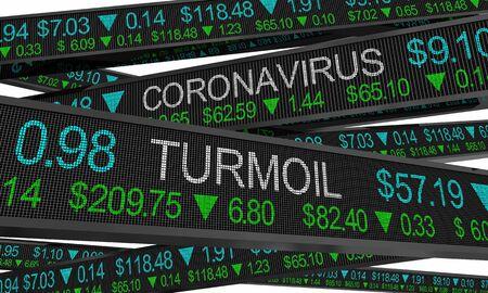 Coronavirus Stock Market Crash Turmoil COVID-19 Outbreak Pandemic 3d Illustration Stock Photo