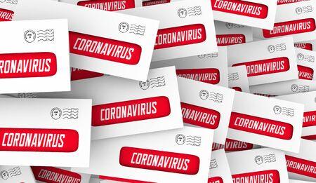 Coronavirus Envelopes Mailing Information COVID-19 Outbreak Pandemic 3d Illustration