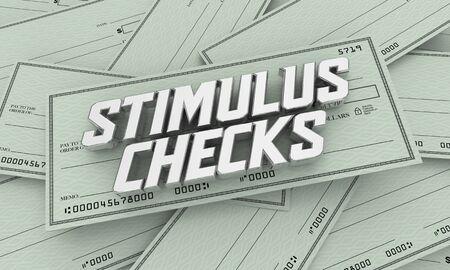 Stimulus Checks Payments Help Assistance Money Crisis 3d Illustration
