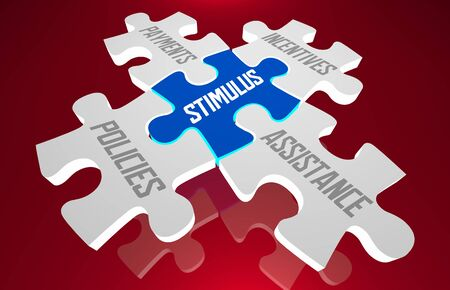 Stimulus Package Payments Policies Incentives Assistance Puzzle 3d Illustration