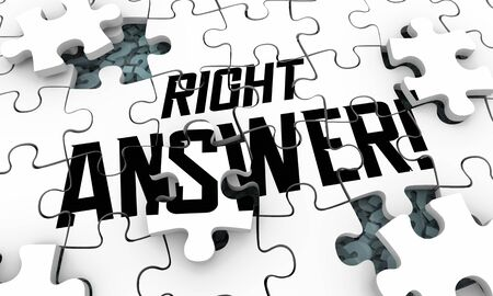 Right Answer Correct Accurate Response Test Solution Puzzle 3d Illustration