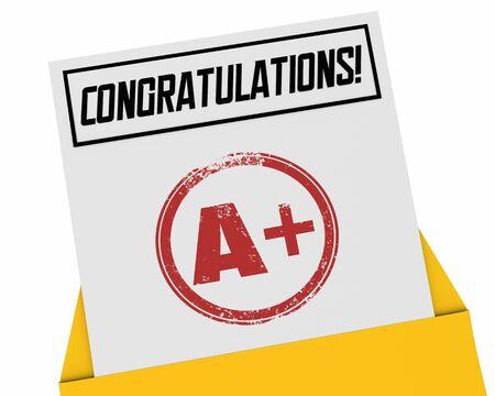Congratulations A Plus Top Score Grade Report Card Rating Review 3d Illustration