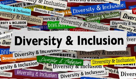 Diversity and Inclusion News Headlines Trends Diverse Include Everyone 3d Illustration Archivio Fotografico