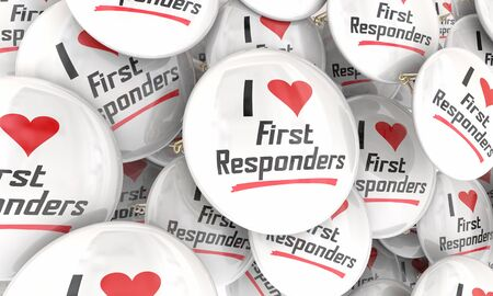 I Love First Responders Buttons Pins Emergency Workers Police Fire Paramedics 3d Illustration