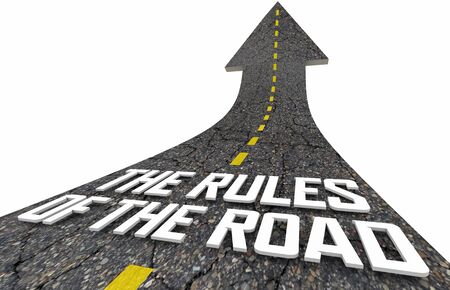 Rules of the Road Accepted Laws Guidelines Directions 3d Illustration Фото со стока
