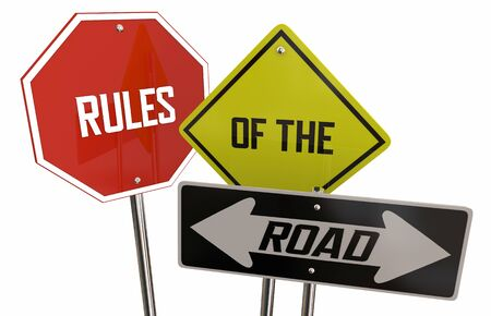 Rules of the Road Stop Yield Two Way Street Signs Laws Regulations 3d Illustration
